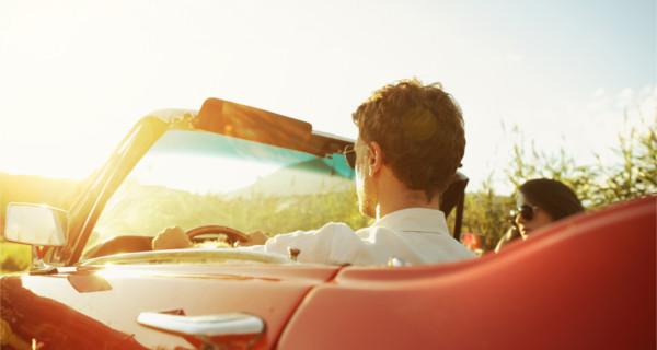 Coucher de soleil depuis la voiture